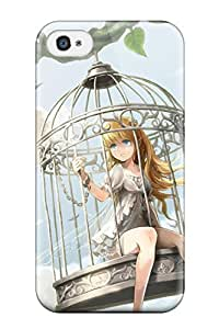 For Iphone 4/4s Protector Case Animal Barefoot Bird Blondeblue Cage Chain Clouds Dress Leavesoriginalinted Ears Shackles Sky Ume Illegal Bible Phone Cover