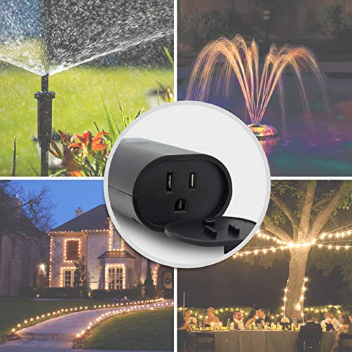 Smart WiFi Outdoor and Indoor Plug Plug-in Heavy Duty Outlet Remote Control Timer Waterproof Compatible with Alexa Google Assistant No Hub Required, Black(MP22W)