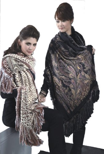 Cashmere Pashmina Group-Cashmere Shawl Scarf Wrap Stole (Solid/ Reversible Print w/ Genuine Fur) - Black by Cashmere Pashmina Group