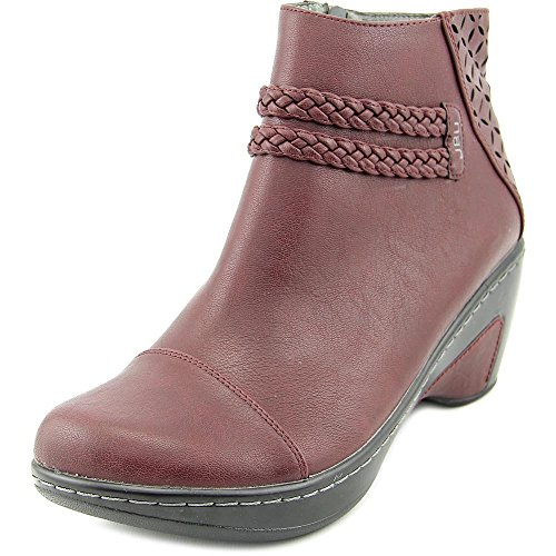 Boot Women's ToeAnkle Burgundy Round Leather Cabernet Faux Jambu qY1adxZY