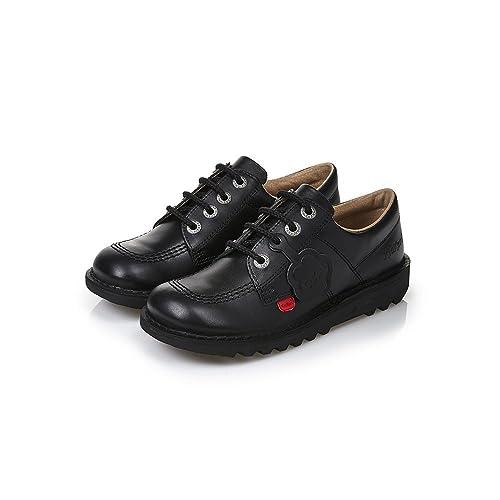 a0a1a1480 Kickers Kick Lo Classic Leather Kids Teen School Shoe Black  Amazon ...