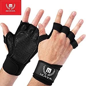 Mava Sports Ventilated Workout Gloves with Integrated Wrist Wraps and Full Palm Silicone Padding Extra Grip & No…