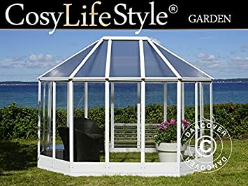 Dancover Invernadero orangerie en policarbonato, 6,96m², 2,41x3,3x2,58m, Blanco: Amazon.es: Jardín