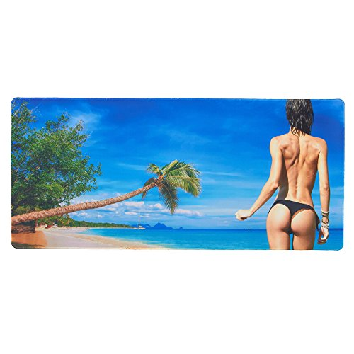 51E%2Bow1PW6L - Extended Gaming Mouse Pad - Sexy Bikini Beach Girl Theme - XXL Extra Large Desk Pad Mouse Pad - Precision Mousing and Water Resistant Surface, 34.5 x 15.75 x 0.12 Inches