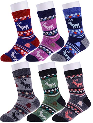 (Girls Boys Wool Socks Thick Warm Thermal For Kid Child Toddlers Cotton Winter Crew Socks 6 Pairs (4-7 Y, Deer))