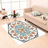 Nalahome Custom carpet oman Turkish Floral Pattern with Tulips Medieval Baroque Effect on Dated Islamic Art Print Multi area rugs for Living Dining Room Bedroom Hallway Office Carpet (5' X 7')