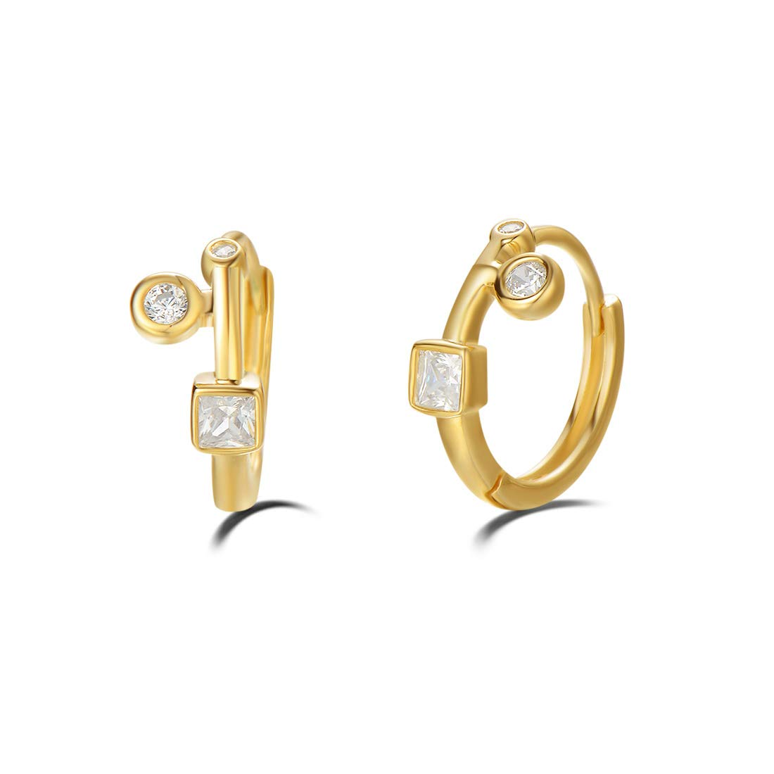 d083de014 Amazon.com: Carleen Yellow Gold Plated 925 Sterling Silver White Cubic  Zirconia CZ Huggie Hoop Earrings for Women Girls, 12mm: Home & Kitchen