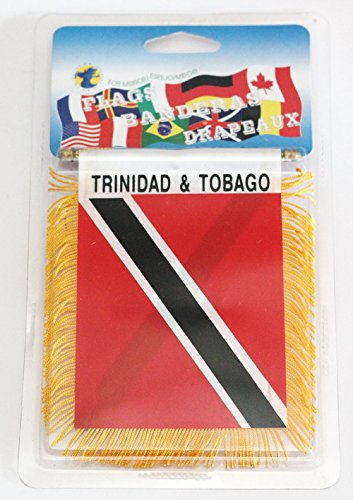 Trinidad & Tobago Flag Rear View Mirror Mini Banner 4 (Colors Flag Trinidad)