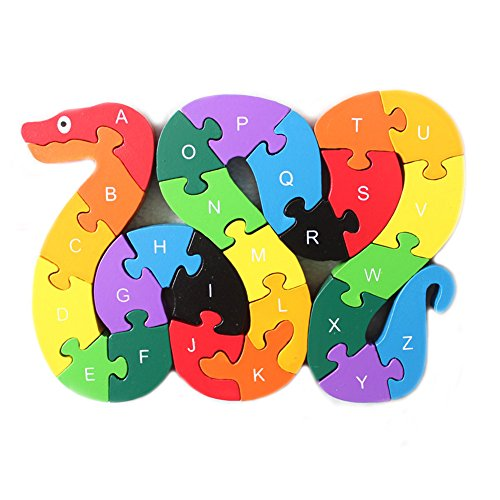 Extpro Educational Wooden ABC & 123 Animal Puzzles for Toddlers Number & Letter Puppy Jigsaw Puzzles (Snake) (Snail Jigsaw)