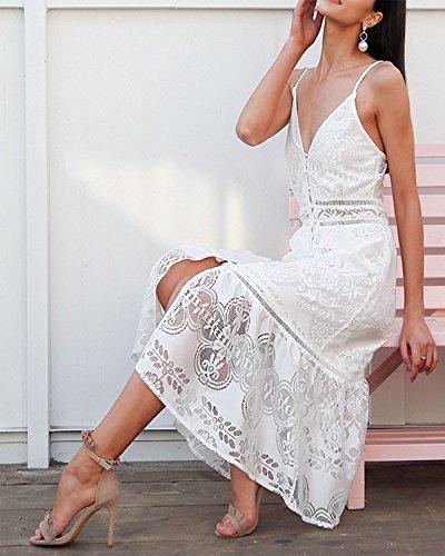 Dentelle Robe À Fines Bretelles De Femmes Kenancy Plage Cou V Profond Robes Midi Blanc Blanc