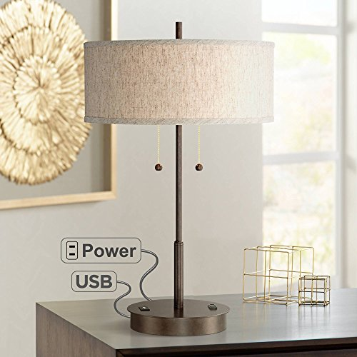 Nikola Modern Table Lamp with Hotel Style USB and AC Power Outlet in Base Bronze Fabric Drum Shade for Living Room Bedroom Office - 360 Lighting (Modern Lamps Style)