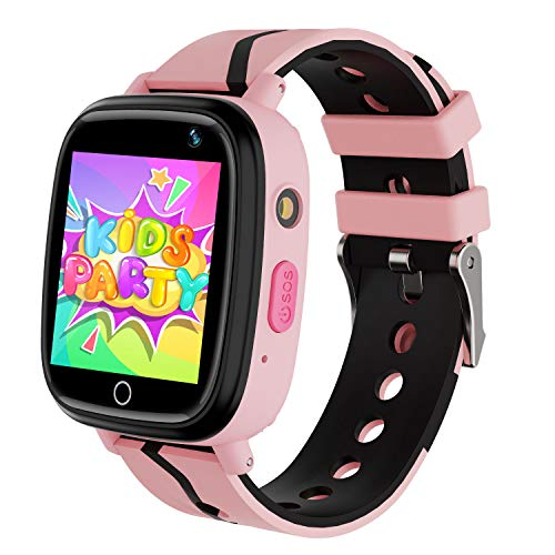 MeritSoar Kids Smart Watch with GPS Tracker SOS Camera Game 1.44 inch Touch Screen Sport Smartwatch Camera Cell Phone Girls Boys for iOS & Android (Q11 Pink)