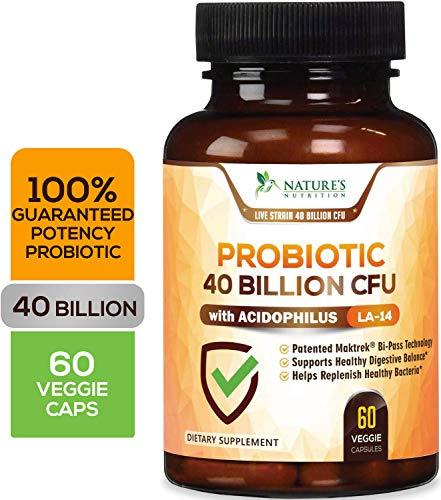 Probiotic 40 Billion CFU. Guaranteed Potency Until Expiration - 15x More Effective Patented Delay Release Lactobacillus Acidophilus - Made in USA - Digestive Health for Women & Men - 60 - Blend Acidophilus Probiotic
