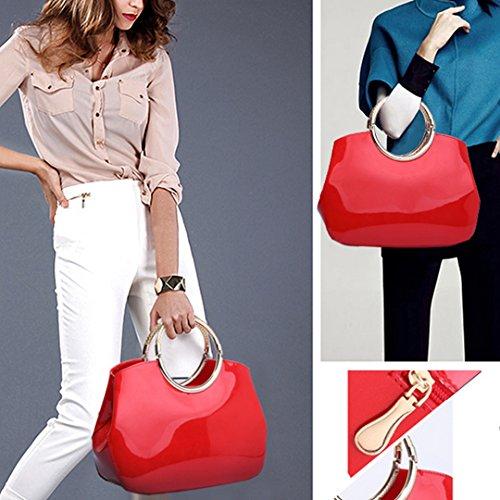 Handle Lady Bags Handbag Handbag Goodbag Tote Shell Patent Shoulder Red2 Bag Top Satchel Bag Boutique Jelly Leather 5wq6F