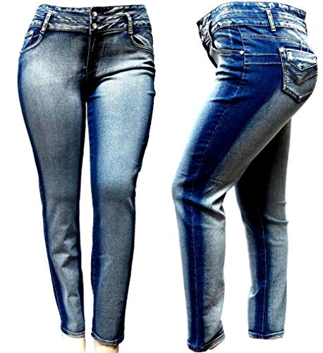 - 5IVE Women's Plus Size Stretch Black/Blue High Waist Denim Jeans Pants Skinny Leg (20, Acid Wash DB-39311 Blue)