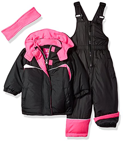 Pink Platinum Baby Girls Colorblocked Snowsuit, Black, 24M