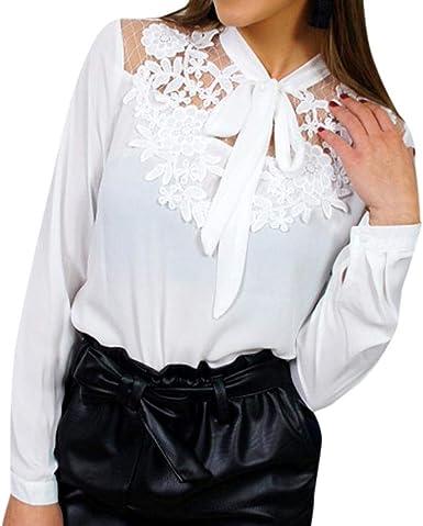 VJGOAL Moda para Mujer Camisa de Manga Larga Perspectiva Sexy Malla Empalme Encaje Ahueca hacia Fuera Blanco Tops Arco Blusa: Amazon.es: Ropa y accesorios