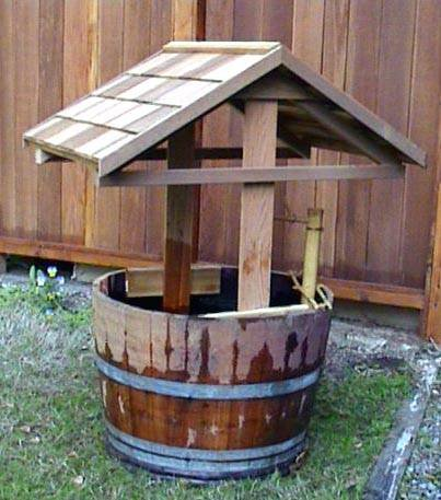 """Wishing Well with Wine Barrel Planter, 26""""D x 52""""H"""