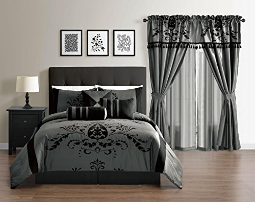 Violeta Queen Size Gray Color 7 Piece Faux Silk Comforter Set Back Floral Flocking Bedding Set By Cozy Beddings