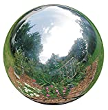 HomDSim 38 cm/15 inch Diameter Gazing Globe Mirror Ball,Silver Stainless Steel Polished Reflective Smooth Garden Sphere,Colorful and Shiny Addition to Any Garden or Home
