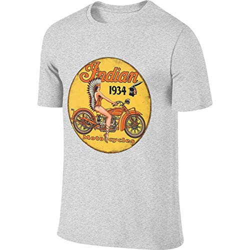 Syins Mens Personalized Humor Tees Indian Motorcycle Retro Posters T Shirt Gray