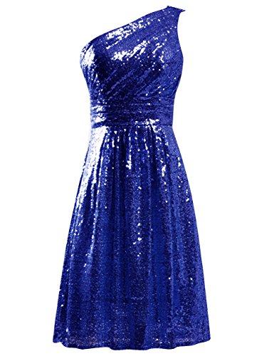 Jaeden Robes De Mariée Sequin Partie Courte Robe De Cocktail Une Robe De Retour À La Maison Épaule Bleu Royal