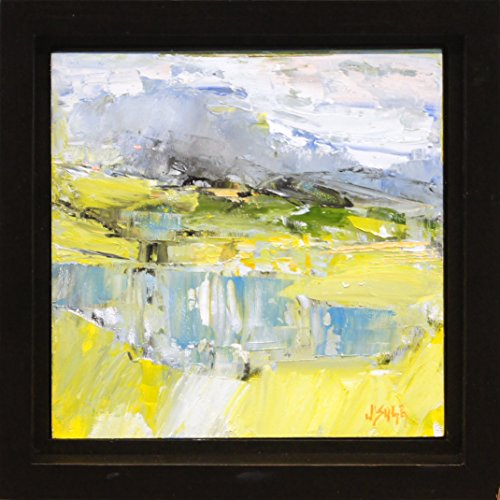 (Untitled Landscape - Abstract Landscape Original Painting Impressionist Art Small Framed Artwork by Renowned Artist Janice Sugg)