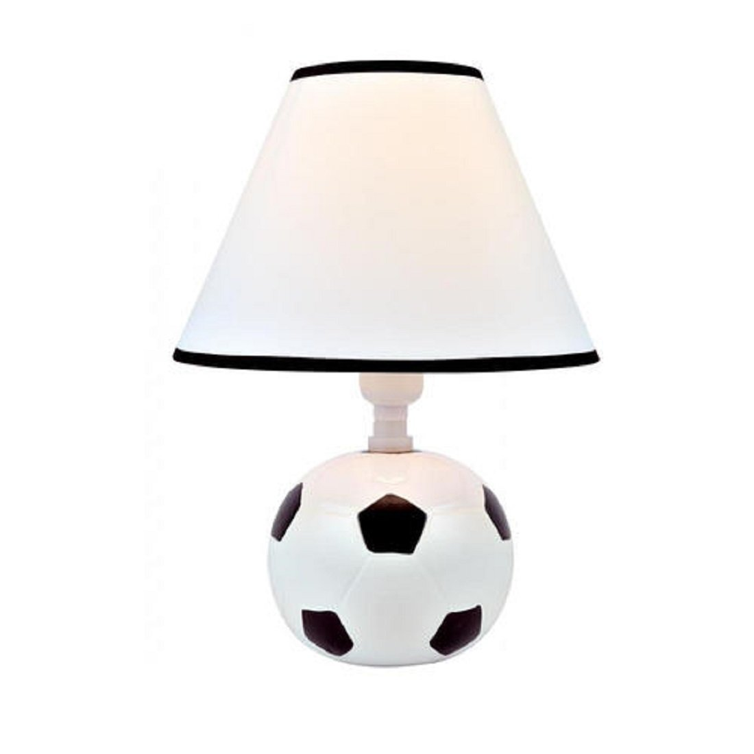 Soccer Ball Shaped White Table Lamp - Sports Themed - 9'' W