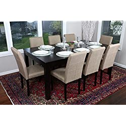 "Formal 9 Piece - 8 Person Butterfly Extension Table 42"" x 78"" and Chairs Dining Dinette - 150255 Light Brown Canvas Black Parson Chair"