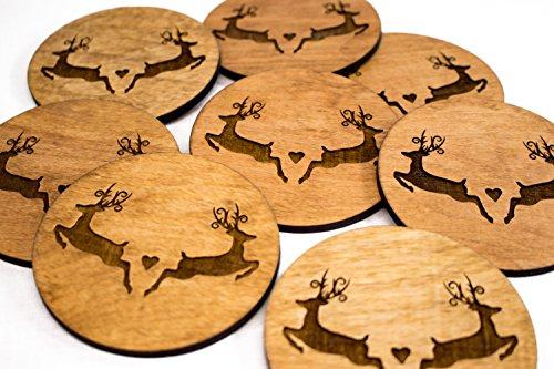 Stained Wedding Coasters - Deer Lover - 4 3.5