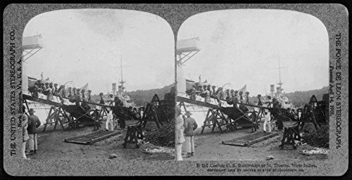 1906 Photo Coaling U.S. battleships at St. Thomas, West Indies People carrying containers of coal on their heads up ramp to ()
