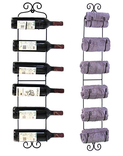 ESYLIFE Wall Mounted Wine Towel Rack, 6 Bottles, Black