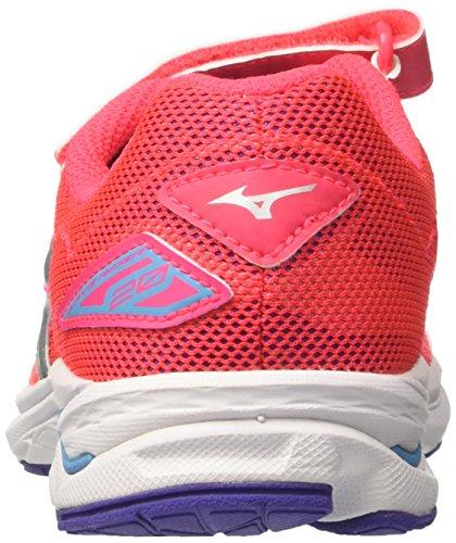 Mizuno Wave Rider Velcro Jnr - Zapatillas de running Unisex Niños Multicolore (DivaPink/Silver/Liberty)