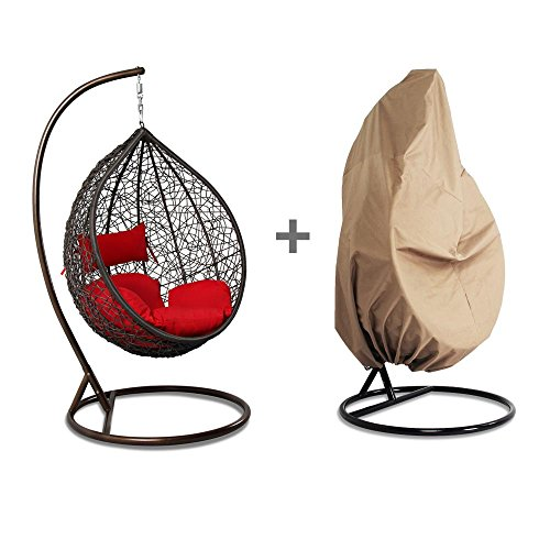 Island Gale Outdoor Brown Wicker Rattan Hanging Swing Egg Chair Hammock with Stand and Cushion, FREE Chair Cover Protector (Hanging Rattan Egg Chair)