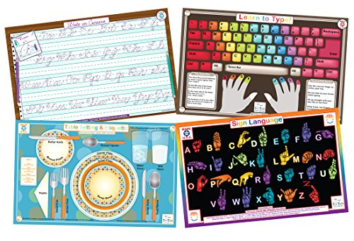 Educational Kids Placemats Set of 4: Learn to Type, Cursive, Sign Language, Table Setting & Etiquette- Reversible Activities- Waterproof, Washable, Wipeable, Durable, USA-made, Table Mats by Tot - Sign Mat