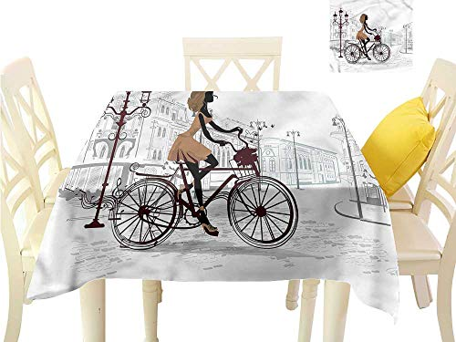 WilliamsDecor Wrinkle Free Tablecloths Teen Room,Young Girl in Paris Table Cover W 70