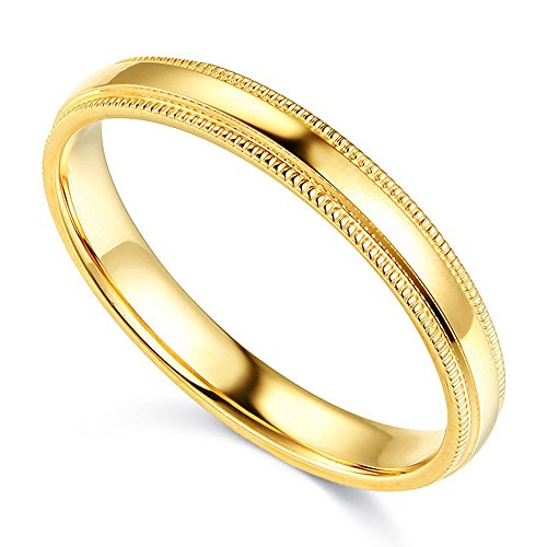 14K Solid Yellow Gold 3MM Plain Comfort Fit Milgrain Wedding Band, Size 8 by Paradise Jewelers