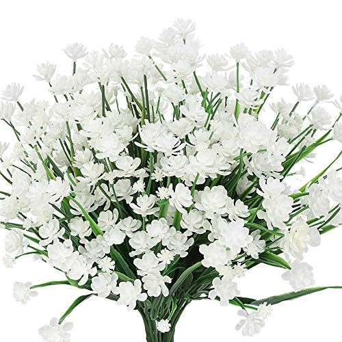 TEMCHY Artificial Daffodils Fake Flowers, 4 Bundles White UV Resistant Faux Greenery Foliage Plants Shrubs for Garden, Wedding, Outside Hanging Planter, Farmhouse Indoor Outdoor Decor