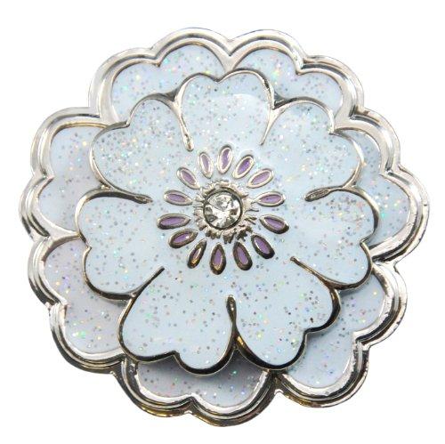 - Navika White Flower Glitzy Ball Marker with Swarovski Crystal and Matching Kicks Candy Shoe Ornament