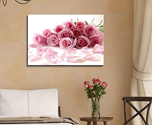 Bouquet of Beautiful Pink Rose Flowers with Petals Wall Decor Wood Framed