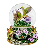 Hummingbirds with Flowers 150mm Resin Rotating Water Globe Plays Tune You Light Up My Life