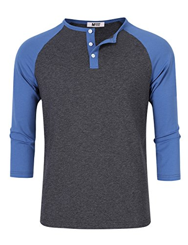 (Kuulee MrWonder Men's Casual Slim Fit Raglan Baseball 3/4 Sleeve 3 Button Henley T-Shirts Deep Gray and Blue M)