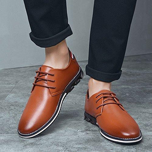 Mode Hommes Cuir Britannique Chaussures LEDLFIE en Véritable Chaussures Cuir brown pour Casual gtBxqF