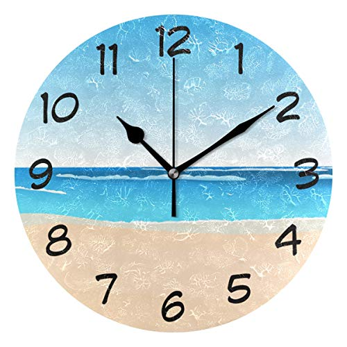 DJROW Cartoon Beach Scenes Wall Clock Office Kitchen Bedroom Living Room Decor 9 Inch,Indoor Modern Simple Oil Painting Acrylic Round Battery Operated Clocks
