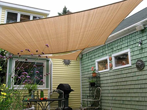 Shade&Beyond 8' x 10' Rectangle Sand Color Sun Shade Sail, UV Block for Outdoor Facility and Activities