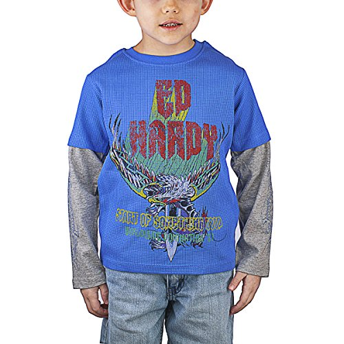 Ed Hardy Thermal (Ed Hardy Toddlers Thermal T-Shirt - Cobalt - 3/4)