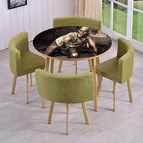Round Table/Wall/Floor Decal Strikers,Removable,Halloween Scary Dead Man in Old Building with Bloody Head Nightmare Theme,for Living Room,Kitchens,Office -