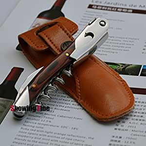 Chateau Laguiole Waiter's Wine Opener with Layerwood Handle Wine Corkscrew Stainless Steel Multifunctional Bottle Opener for Beer and Wine with Leather Sheath Packing