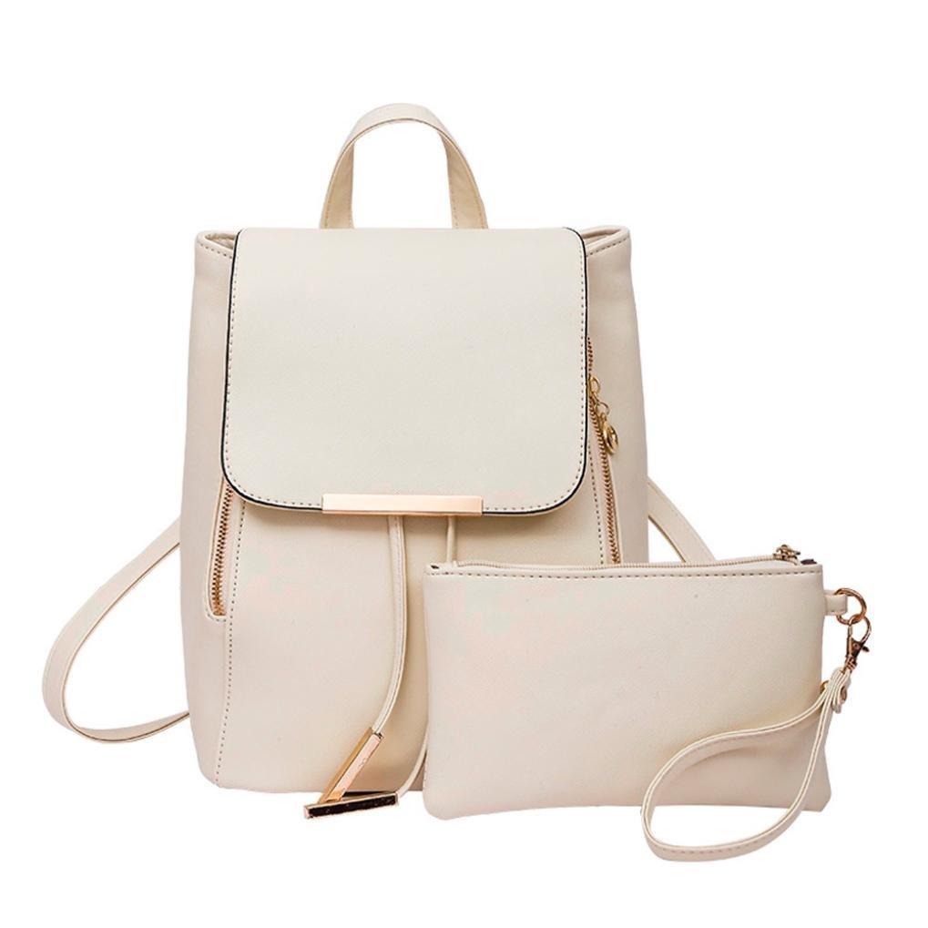 DDLBiz 2Pcs Fashion Women Girls Leather Backpack Travel School Handbag Clutch Bag (Beige)