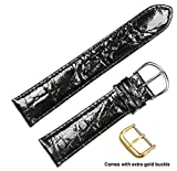 deBeer brand Genuine Crocodile Watch Band (Silver & Gold Buckle) - Black 19mm